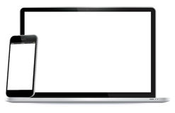 Laptop and Mobile Phone Vector Illustration. Stock Photo