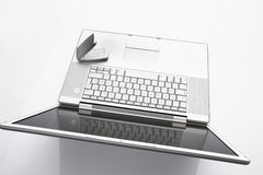 Laptop and mobile phone on white background, close up Stock Image