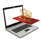 Laptop Mobile Shopping Stock Photography