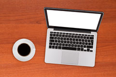 Laptop Mock Up with Coffee Stock Images