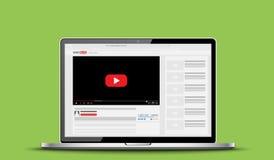 Laptop mockup with online video blog screen. Vlog concept. Vector illustration. Stock Images