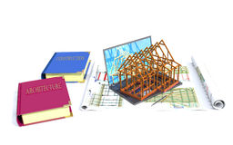 Laptop, model of the house and books on architecture and constru Royalty Free Stock Photography