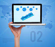 Laptop with modern diagrams and pie charts Stock Image