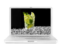 Laptop with mojito and ice on the screen Stock Images