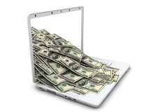 Laptop and money Stock Photos