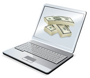 Laptop and money Stock Photography