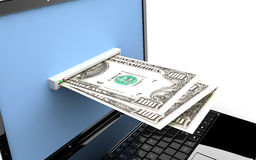 Laptop with money Royalty Free Stock Photography