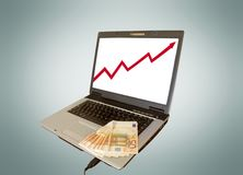 laptop and money royalty free stock image