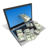 Laptop and money bills 3d illustration Royalty Free Stock Images