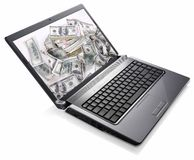 Laptop Money (Dollars) Treasure Royalty Free Stock Photos