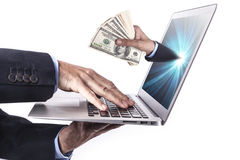 Laptop And Money Stock Image