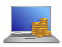 Laptop with money illustration design. Over white background Royalty Free Stock Photography
