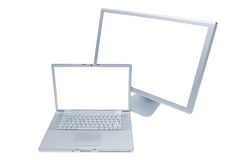 Laptop and monitor. Modern laptop and the monitor on a white background royalty free stock photos