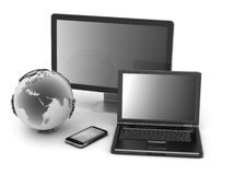 Laptop, monitor, cell phone and earth globe. On white background Royalty Free Stock Photography