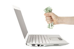 Laptop monitor and hand Royalty Free Stock Photography