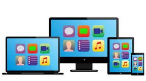 Laptop monitor tablet mobile icon Stock Image
