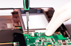 Laptop mother board fixing Stock Photography