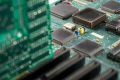 Laptop motherboard. Close-up of processor Stock Image