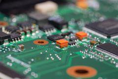 Laptop motherboard closeup. Printed circuit Board with SMD components. royalty free stock photos