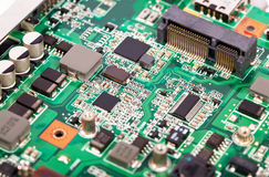 Laptop motherboard with micro schemes Stock Images