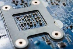 Laptop motherboard microschakelings hoogste mening royalty-vrije stock afbeeldingen