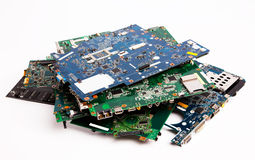 Laptop motherboards composition Stock Photos