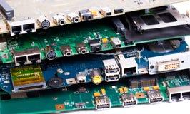 Laptop motherboards plugs Stock Photos