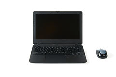 Laptop with mouse. Black laptop computer with a wireless mous, isolated on white Stock Photos