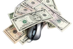 Laptop, mouse and money Royalty Free Stock Images