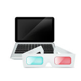 Laptop and movie glasses isolated on white Royalty Free Stock Photos