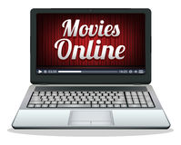 Laptop with movies online on a screen Royalty Free Stock Image