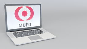 Laptop with MUFG logo. Computer technology conceptual editorial 3D rendering Stock Photo