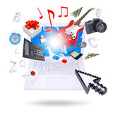 Laptop and multimedia objects Stock Images