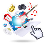 Laptop and multimedia objects Royalty Free Stock Image