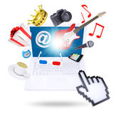 Laptop and multimedia objects Stock Photo