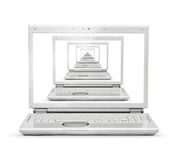 Laptop with multiple tasks Royalty Free Stock Photography