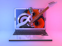Laptop music. Musical laptop standing on a blue-red background Royalty Free Stock Images
