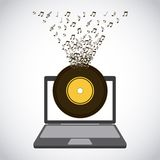 Laptop and music design Stock Photo