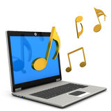 Laptop Music Notes. A laptop with golden music notes on the white background Stock Image
