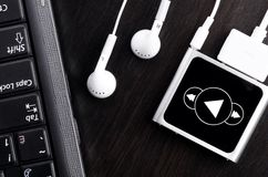 Laptop with music player Royalty Free Stock Photography