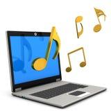 Laptop Muzieknota's vector illustratie
