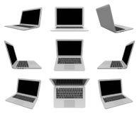 Laptop na Białych, Wieloskładnikowych widok seriach, Zdjęcia Stock