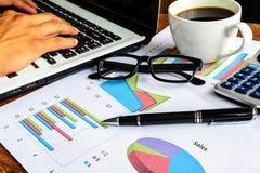 Laptop na biurka biura i wykres analizy spreadsheet fotografia royalty free