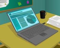 Laptop na biurku i niektóre inny pracujemy wyposażenie ilustracja wektor