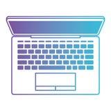 Laptop na vista superior no roxo degradado ao contorno azul ilustração do vetor