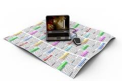 Laptop na wiadomość papierze ilustracji