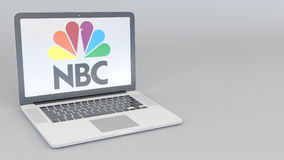 Laptop with National Broadcasting Company NBC logo. Computer technology conceptual editorial 3D rendering Royalty Free Stock Images