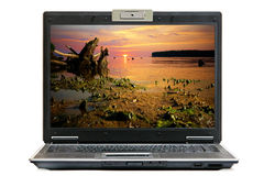 Laptop and nature Royalty Free Stock Images