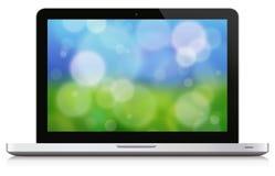 Laptop Nature Background Stock Image