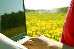 Laptop nature work Royalty Free Stock Photography